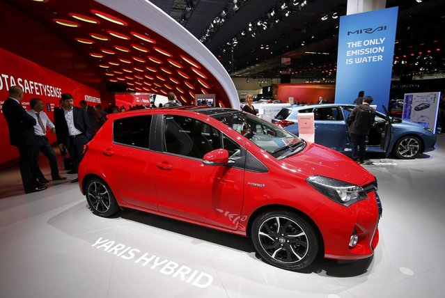 A Toyota Yaris Hybrid is pictured during the media day at the Frankfurt Motor Show (IAA) in Frankfurt, Germany, September 15, 2015. (Photo by Kai Pfaffenbach/Reuters)