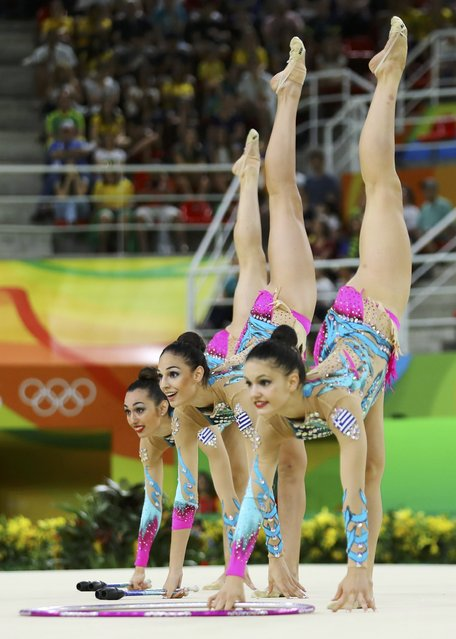 2016 Rio Olympics, Rhythmic Gymnastics, Preliminary, Group All-Around Qualification, Rotation 2, Rio Olympic Arena, Rio de Janeiro, Brazil on August 20, 2016. Team Greece (GRE) compete using clubs and hoops. (Photo by Mike Blake/Reuters)