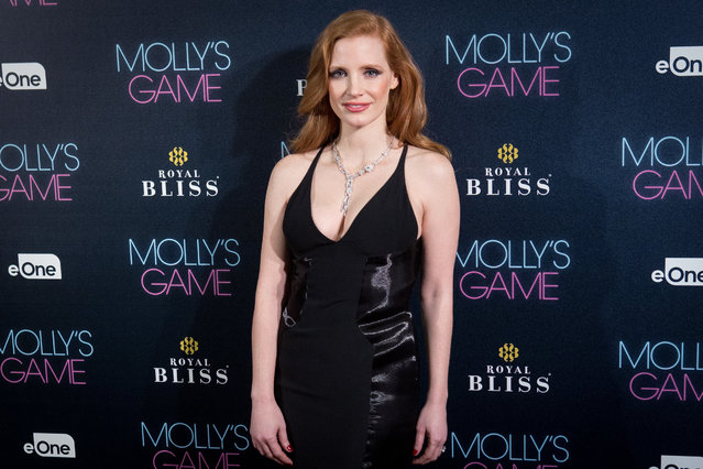 "Actress Jessica Chastain attends ""Molly's Game"" Madrid premiere at Callao Cinema on December 4, 2017 in Madrid, Spain. (Photo by Pablo Cuadra/WireImage)"