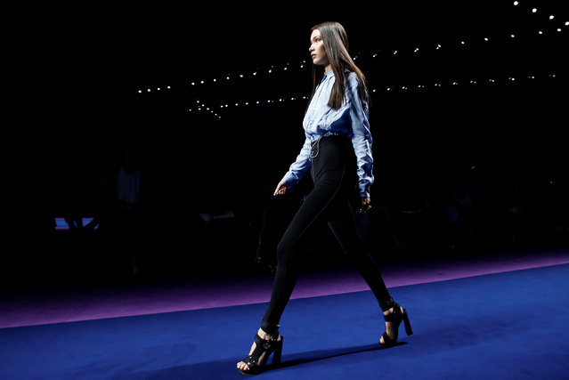 Model Bella Hadid presents a creation at the Versace fashion show during Milan Fashion Week Spring/Summer 2017 in Milan, Italy, September 23, 2016. (Photo by Alessandro Garofalo/Reuters)