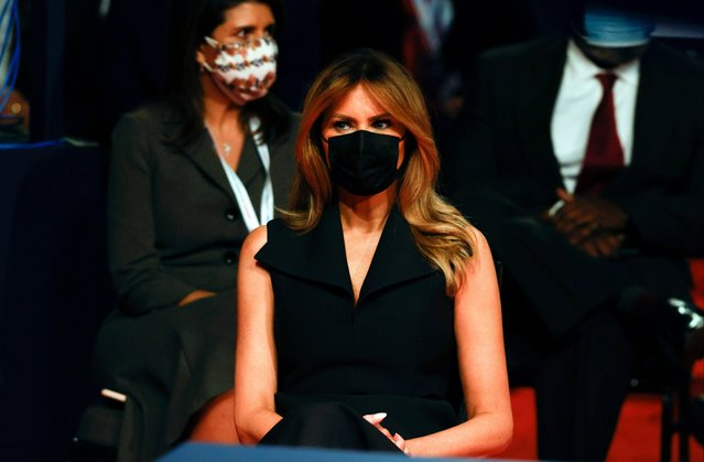 First lady Melania Trump arrives prior to the start of the final debate between her husband President Donald Trump and Democratic presidential nominee Joe Biden at Belmont University on October 22, 2020 in Nashville, Tennessee. This is the last debate between the two candidates before the November 3 election. (Photo by Jim Bourg-Pool/Getty Images)
