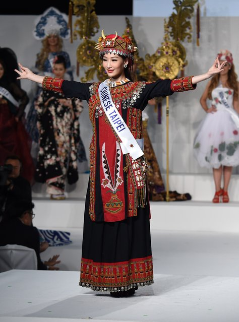 Miss Taiwan Yan Chenning displays her national costume during the Miss International beauty pageant in Tokyo on November 5, 2015. (Photo by Toru Yamanaka/AFP Photo)