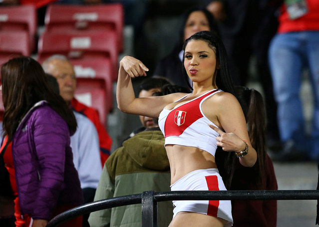 Football Soccer, Chile vs Peru, World Cup 2018 Qualifiers, Nacional Stadium, Santiago, Chile on October 11, 2016. Peru's fan. (Photo by Ivan Alvarado/Reuters)