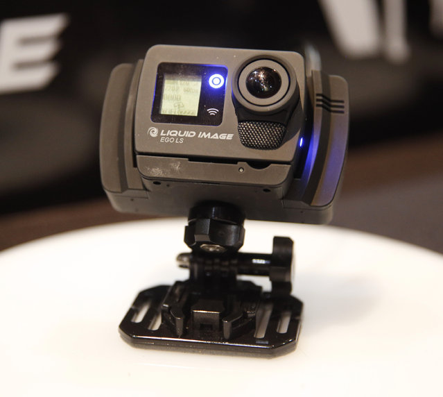 The Liquid Image EGO LS-800 wearable and mountable 4G enabled camera is on display at CES Unveiled, a media preview event for CES International, Sunday, January 4, 2015, in Las Vegas. (Photo by John Locher/AP Photo)