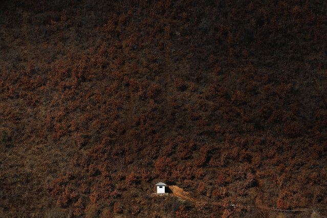 A North Korean watchtower is photographed from the Chinese side of the Yalu River east of Linjiang, China, November 22, 2017. A week-long road trip along China's side of its border with North Korea showed places where it is porous. (Photo by Damir Sagolj/Reuters)