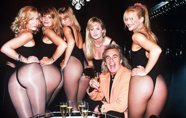 Peter Stringfellow, 1994. He was an English businessman and nightclub owner. Stringfellow started in the nighttime trade in the early 1960s and recalled booking acts including The Beatles, The Kinks and Jimi Hendrix to play at his clubs. Peter Stringfellow has died aged 77  on June 7, 2018. (Photo by Rex Features/Shutterstock)