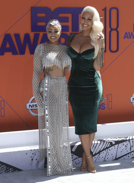 Blac Chyna, left, and Amber Rose arrive at the BET Awards at the Microsoft Theater on Sunday, June 24, 2018, in Los Angeles. (Photo by Willy Sanjuan/Invision/AP Photo)