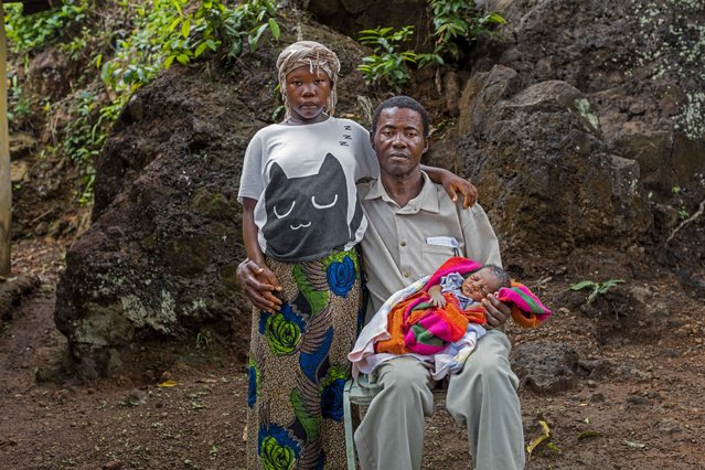 In this photo taken in 2016, Baby Seibureh, 17, and Claude Seibureh, 48, of Freetown, were married during the Ebola crisis. Because of her small stature, Baby needed a cesarean section to safely give birth to their son, Joseph. While child marriage is a critical issue in both crisis and stable contexts, child marriage is rising at alarming rates in humanitarian settings. (Photo byStephanie Sinclair/Too Young to Wed via AP Photo)