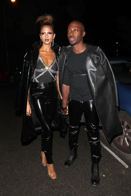Alesha Dixon and her husband Azuka seen leaving Jonathan Ross – Halloween party on October 31, 2017 in London, England. (Photo by Beretta/Sims/Rex Features/Shutterstock)