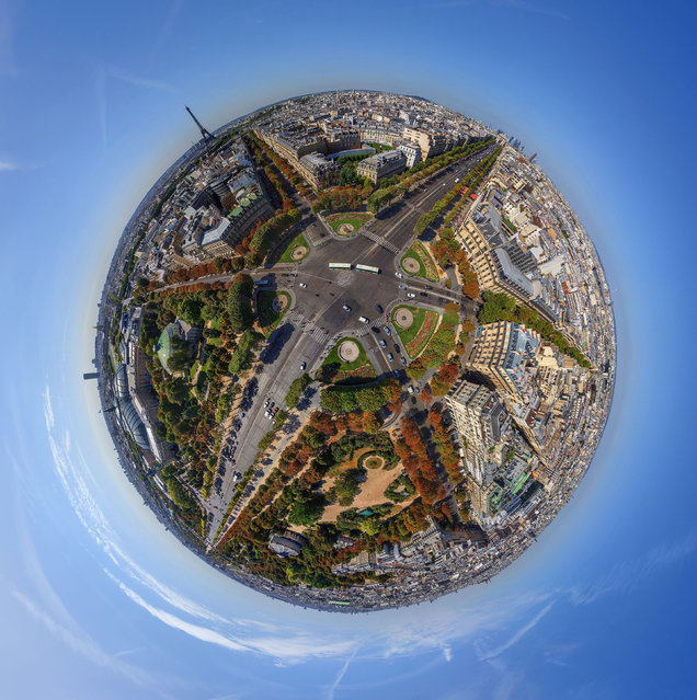 Champs-lyses, Paris, France – visible is the Eiffel Tower. (Photo by Airpano/Caters News)