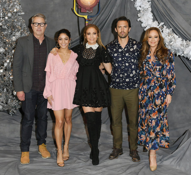 "Peter Segal, Vanessa Hudgens, Jennifer Lopez, Milo Ventimiglia and Leah Remini attend the photo call for STX Films' ""Second Act"" at Four Seasons Hotel Los Angeles at Beverly Hills on December 9, 2018 in Los Angeles, California. (Photo by Jon Kopaloff/FilmMagic)"
