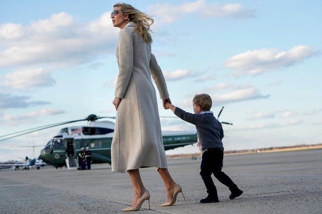 Senior White House Advisor Ivanka Trump and her son Theodore walk from Air Force One at Joint Base Andrews in Maryland, U.S., March 31, 2019. (Photo by Joshua Roberts/Reuters)