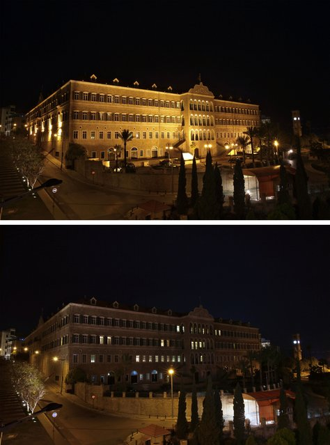 In this two photo combination picture, the government headquarters is shown before and after having its lighting switched off to mark Earth Hour in Beijing, Saturday, March 19, 2016. (Photo by Bilal Hussein/AP Photo)