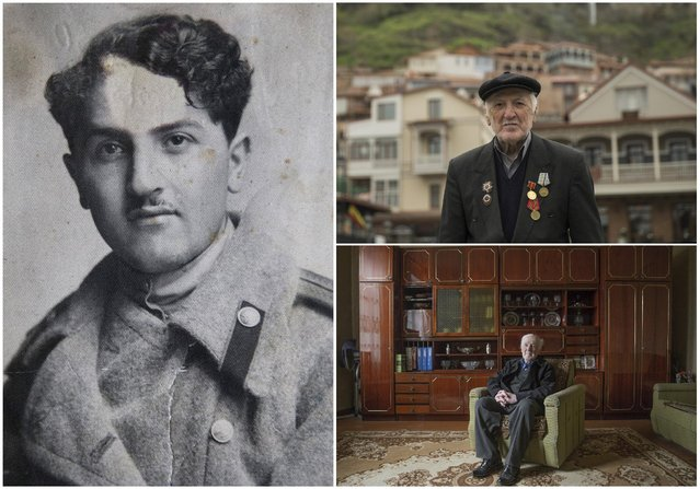World War Two veteran Giorgi Gozalishvili, 88, is seen in an undated handout picture (L), posing for picture in the historic part of Tbilisi (Top R) and at home in Georgia April 10, 2015. Gozalishvili served in an infantry unit of the Soviet Union army from April 1944 until April 1946. Originally from Georgia, the end of World War Two found him in Germany. (Photo by David Mdzinarishvili/Reuters/Family handout (L))