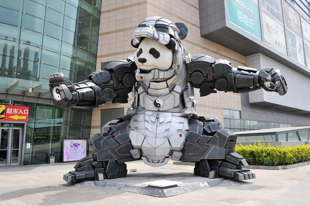 A 9-meter-high panda covered with iron is seen in front of Uni Park on May 7, 2015 in Shenyang, Liaoning province of China. An Iron Panda, which is 9-meter high and 7-meter wide, is on display in northwest China's Shenyang. It's said that the panda was created by post 80s boy Bi Sheng, an artist graduated from Sculpture Department of China Central Academy of Fine Arts. (Photo by ChinaFotoPress via Getty Images)