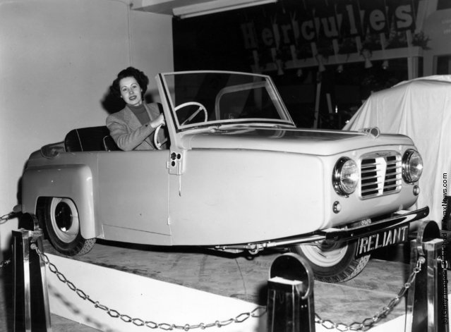 1952: The Regal four-seater coupe, produced by the Reliant Engineering Co., Tamworth, Staffordshire, on show at the Cycle and Motor Cycle Show at Wasrl's Court in London