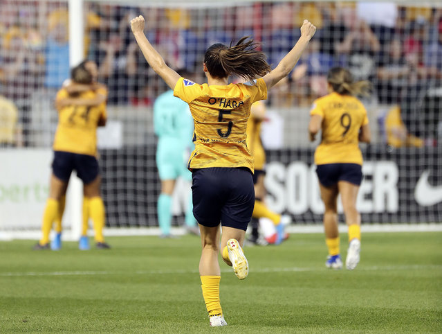 Utah Royals FC defender Kelley O'Hara (5) celebrates a Royals goal during a soccer game against the Portland Thorns FC in a soccer game at Rio Tinto Stadium in Sandy on Friday, July 19, 2019. (Photo by Kristin Murphy/Deseret News)
