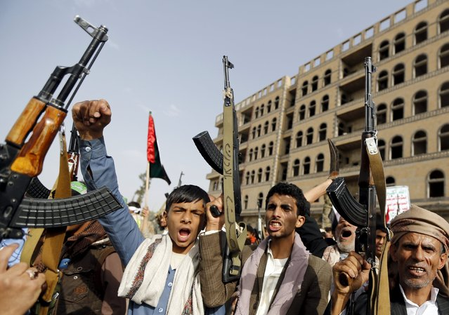 Houthi followers shout slogans during a rally marking al-Quds (Jerusalem) Day in Yemen's capital Sanaa July 10, 2015. (Photo by Khaled Abdullah/Reuters)