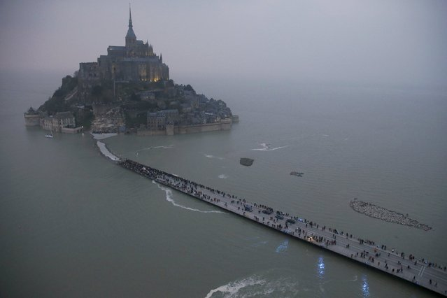 An aerial view shows the Mont Saint-Michel off France's Normandy coast, in this March 20, 2015 file photo. (Photo by Pascal Rossignol/Reuters)