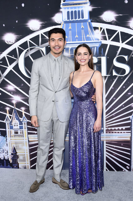 "Henry Golding and Emilia Clarke attend ""Last Christmas"" New York premiere at AMC Lincoln Square Theater on October 29, 2019 in New York City. (Photo by Steven Ferdman/WireImage)"