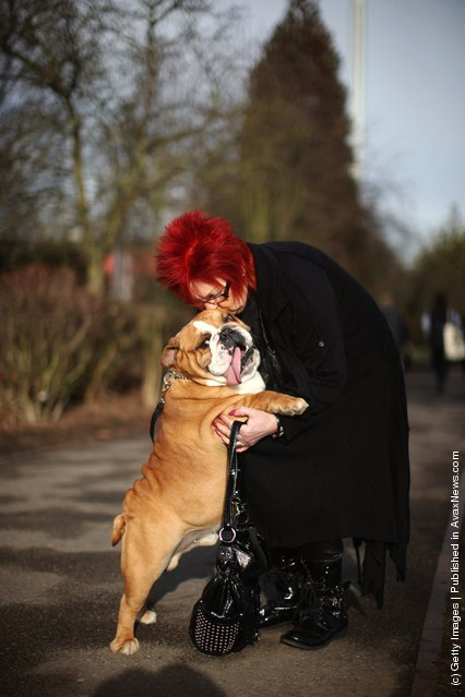 Eli the British Bulldog gets a cuddle from her owner Sue Leicity on Day one of Crufts at the Birmingham NEC Arena