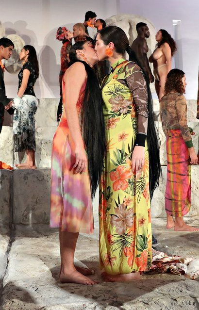 Lourdes Leon (L) performs with models in the Desigual X Carlota Guerrero Show during Art Basel Miami 2019 at The Temple House on December 6, 2019 in Miami Beach, Florida. (Photo by Cindy Ord/Getty Images)