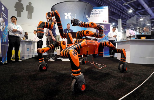 A Robomantis general purpose robot is displayed in the Motiv Robotics booth during the 2020 CES in Las Vegas, Nevada, U.S. January 8, 2020. (Photo by Steve Marcus/Reuters)