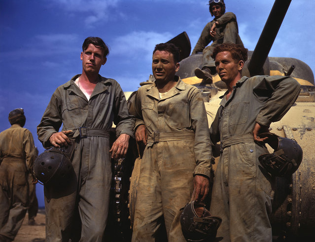 Tank crew standing in front of M-4 tank, Ft. Knox, Kentucky, June, 1942