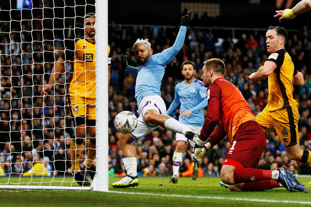 Manchester City's Sergio Agùero misses a chance to score against Port Vale at Etihad Stadium, Manchester, Britain on January 4, 2020. City won 4-1. (Photo by Jason Cairnduff/Action Images via Reuters)