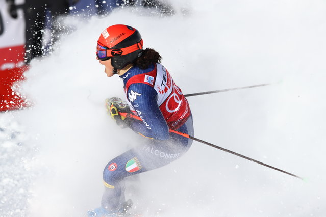 Italy's Federica Brignone celebrates at the finish area during an alpine ski, World Cup women's giant slalom in Sestriere, Italy, Saturday, January 18, 2020. (Photo by Alessandro Trovati/AP Photo)