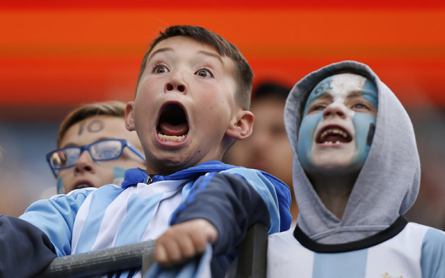 Young Argentina fans react in the stands as the team prepares to enter the field during a group D match between Argentina and Bolivia at CenturyLink Field as part of Copa America Centenario US 2016 on June 14, 2016 in Seattle, Washington, US. (Photo by John Froschauer/LatinContent/Getty Images)