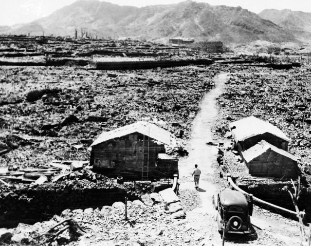 These shacks, seen September 14, 1945, were made from scraps of debris from buildings that were leveled in the aftermath of the atomic bomb that was dropped over Nagasaki. (Photo by AP Photo)