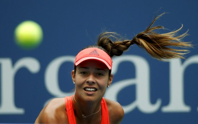 Ana Ivanovic of Serbia serves to Dominika Cibulkova of Slovakia during their match at the U.S. Open Championships tennis tournament in New York, August 31, 2015. (Photo by Mike Segar/Reuters)