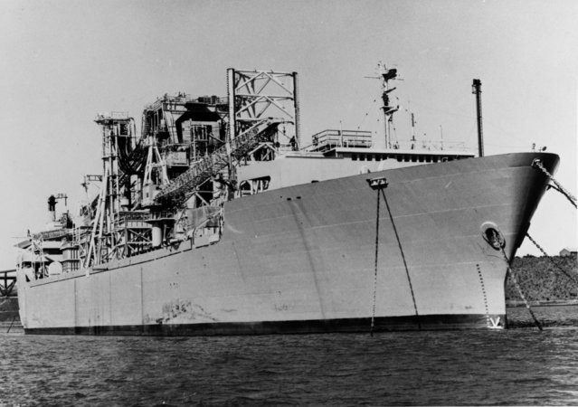 The Glomar Explorer ship is seen anchored in the U.S. Navy's National Defense Reserve Fleet anchored in Suisan Bay, California in this U.S. Navy handout file photo taken on May 15, 1977 and released to Reuters by the Archives Branch of The U.S. Naval History and Heritage Command in Washington, September 3, 2015. (Photo by Reuters/US Navy/Archives Branch, Naval History and Heritage Command, Washington)