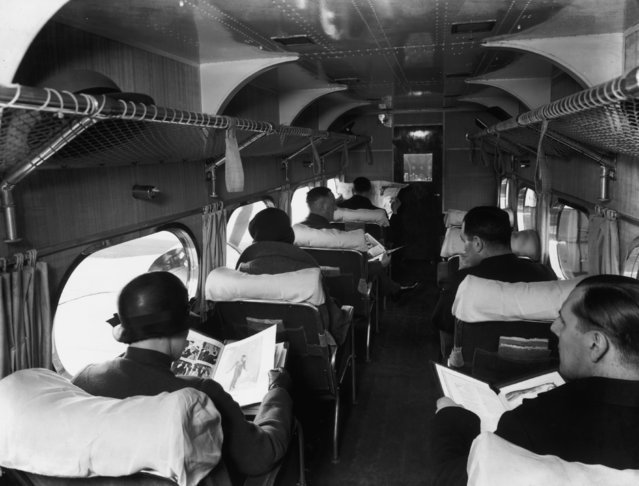 Passengers settling down for their journey on an Air France plane, 1935. (Photo by Fox Photos/Getty Images)