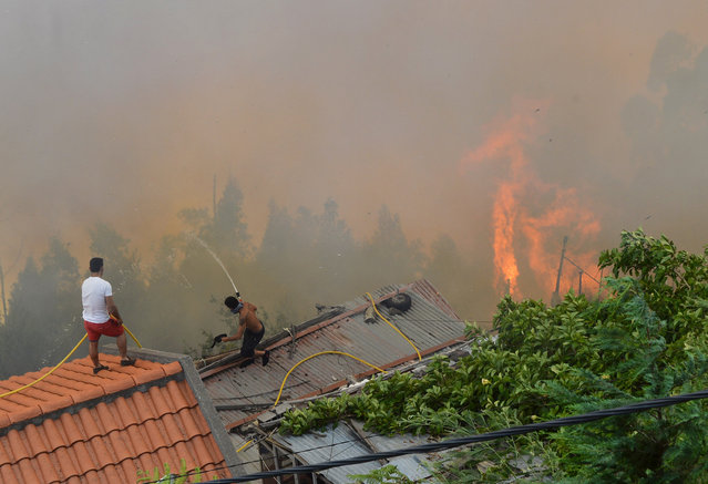 Men spray water on the roofs of houses to protect them from an approaching fire in Curral dos Romeiros, on the outskirts of Funchal, on the Madeira island, Portugal, Tuesday, August 9 2016. Flames from forest fires licked at homes around Funchal, casting a smoke plume over the downtown and forcing the evacuation of more than 400 people. (Photo by Helder Santos/AP Photo)