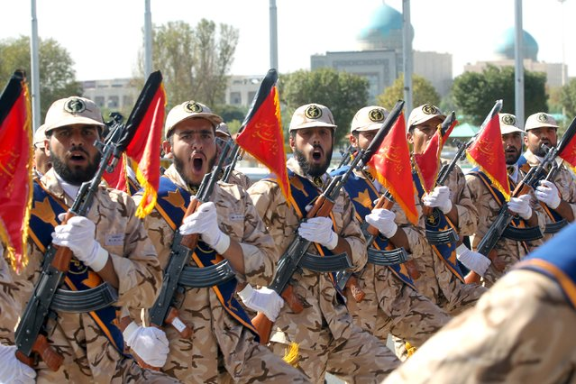 Members of the Iranian Army participate in a parade marking the anniversary of the Iran-Iraq war (1980-88), in Tehran September 22, 2015. (Photo by Raheb Homavandi/Reuters/TIMA)