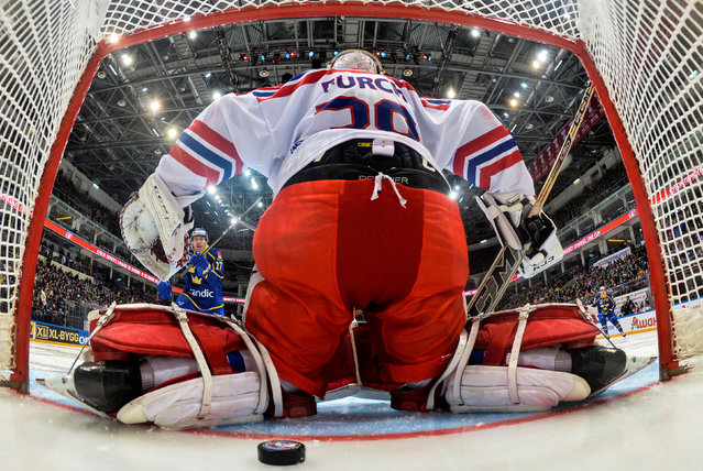 The Czech Republic' s goaltender Dominik Furch concedes a goal in the 2017-18 Euro Hockey Tour Channel One Cup ice hockey match between Sweden and the Czech Republic at VTB Arena on December 17, 2017 in Moscow, Russia; the Czech Republic won 4 - 1. (Photo by Mikhail Korytov/Reuters)