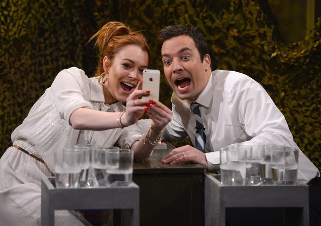 "Lindsay Lohan visits ""The Tonight Show Starring Jimmy Fallon"" at Rockefeller Center on March 6, 2014 in New York City.  (Photo by Theo Wargo/NBC/Getty Images for ""The Tonight Show Starring Jimmy Fallon"")"