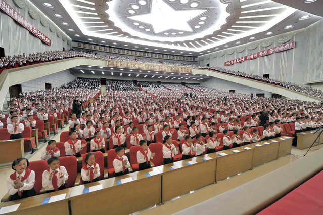 Children attending the Congress of the Korean Children's Union (KCU) at the April 25 House of Culture in Pyongyang, North Korea on June 7, 2013. (Photo by Reuters/KCNA)