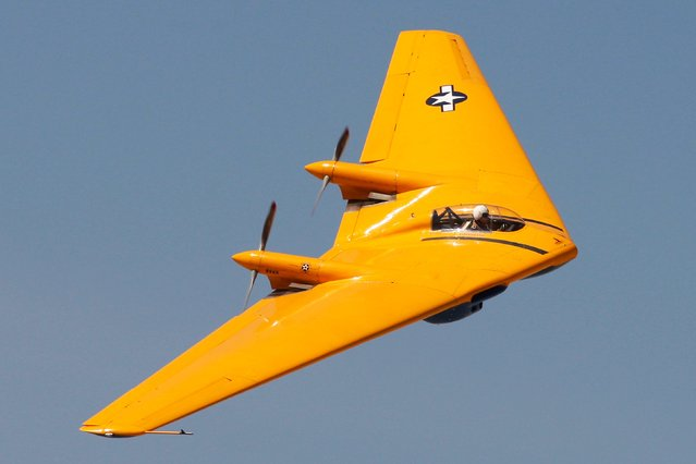 Ron Hackworth flies a Northrop N9MB Flying Wing, designed in 1944 and considered the grandfather of the B-2 Stealth Bomber, at the Los Angeles County Air Show at the General William J. Fox Airfield in Lancaster, California, March 21, 2014. (Photo by David McNew/Reuters)