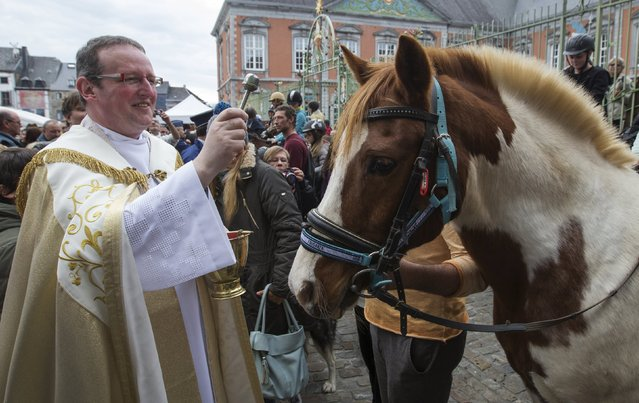 Belgian priest Philippe Goosse (L) blesses a horse during a religious and blessing ceremony for animals outside the Basilica of St Peter and Paul in Saint-Hubert, Belgium November 3, 2015. (Photo by Yves Herman/Reuters)