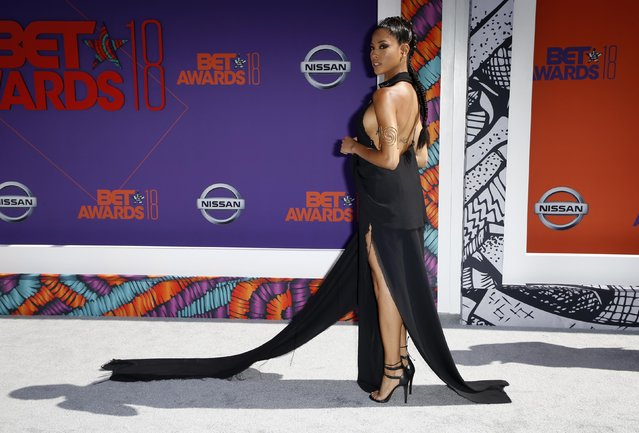 Lex Scott Davis arrives at the BET Awards at the Microsoft Theater on Sunday, June 24, 2018, in Los Angeles. (Photo by Danny Moloshok/Reuters)