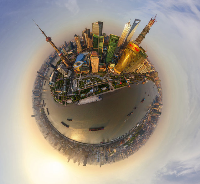 Shanghai, China, buildings include: Aurora Tower, Oriental Pearl TV Tower, Shanghai World Financial Center, Oriental Financial Center and Jin Mao Tower. (Photo by Airpano/Caters News)