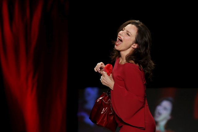 Fran Drescher presents a creation during the American Heart Association's (AHA) Go Red For Women Red Dress Collection, presented by Macy's at New York Fashion Week February 11, 2016. (Photo by Andrew Kelly/Reuters)
