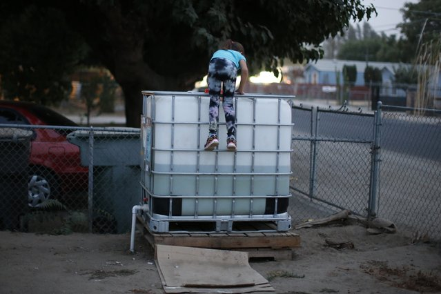 Abigail Beltran, 6, whose family's well has run dry, climbs on a water storage tank in her front yard in Porterville, October 14, 2014. (Photo by Lucy Nicholson/Reuters)