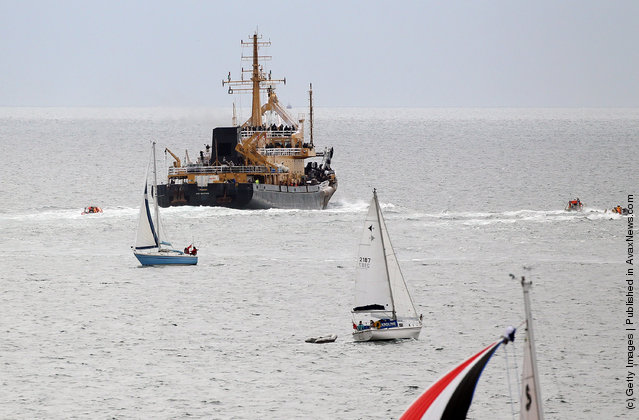 A ship being used for the filming of World War Z sets sail from Falmouth Harbour