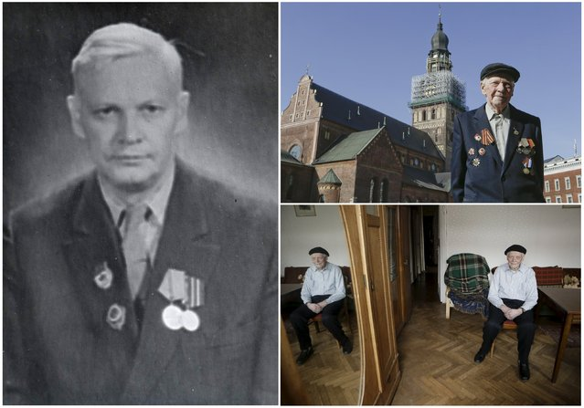 World War Two veteran Fricis Ceplis, 98, is seen in an undated handout picture (L), posing for a picture in Riga (Top R) and at home in Latvia April 1, 2015. Ceplis served in the infantry of the Soviet Union army from March 1942 until May 1945. Originally from Latvia, the end of World War Two found him in Latvia. (Photo by Ints Kalnins/Reuters/Family handout (L))