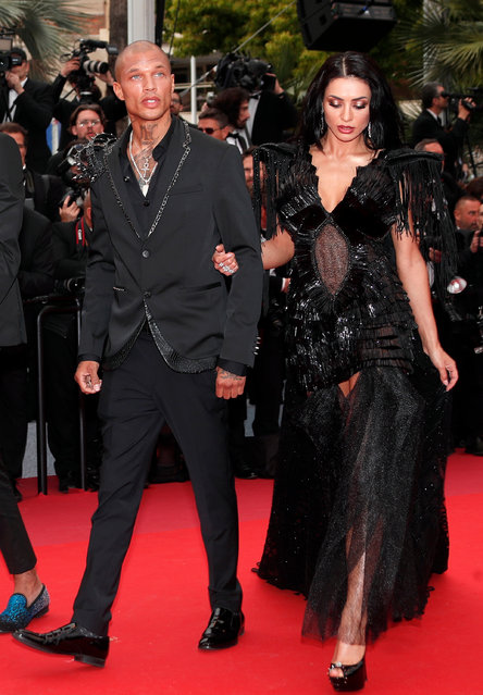 "Jeremy Meeks (L) and Andreea Sasu (R) arrive for the screening of ""The Dead Don't Die"" and the Opening Ceremony of the 72nd annual Cannes Film Festival in Cannes, France, 14 May 2019. (Photo by Ian Langsdon/EPA/EFE)"