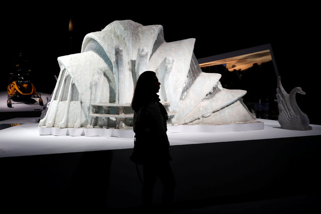 """Model of the Ice Palace from the James Bond film """"Die Another Day"""" is displayed during a press presentation of the exhibition """"The Designing 007: Fifty Years of Bond Style"""" at the Grande Halle de la Villette in Paris, France, April 13, 2016. (Photo by Benoit Tessier/Reuters)"""